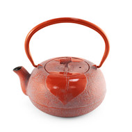 [NEW] Leaf Motif Red Nanbu Cast Iron Teapot 23 oz