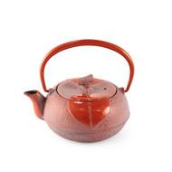 Leaf Motif Red Nanbu Cast Iron Teapot 10 oz