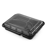 "TZ-306 Black Take Out Bento Box 10 1/2"" x 8"" (50/pack)"