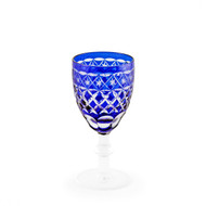 Blue Kiriko Cut-Glass Style Wine Glass 2.3 oz
