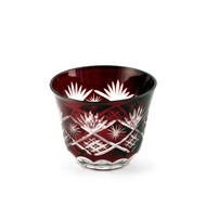 Red Kiriko Cut-Glass Style Bowl 5 oz