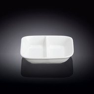"""Wilmax 2 Compartment White Soy Sauce Dish 4"""""""