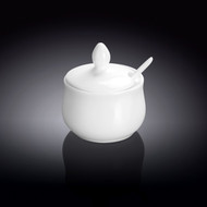 Wilmax White Porcelain Pot with Spoon 4 oz