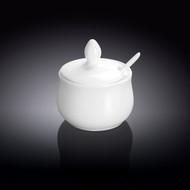 """Wilmax White Porcelain Pot with Spoon 3 fl oz / 2.83"""" dia"""