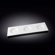 """Wilmax 3-Round-Well White Rectangular Tasting Board 13.78"""" x 4.8"""""""