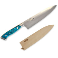"Nenox Gyuto Knife 210mm (8.2"") Pacific Blue Jigged Bone Handle with Saya Cover"