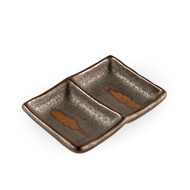 "2 Compartment Brown Sauce Plate 4.96"" x 3.54"""