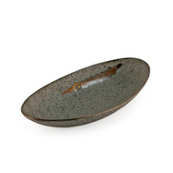 "[NEW] Grainy Oval Plate with Brown Brushstroke 9"" x 4.5"""