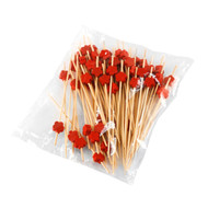 "15% Off with code MTCBARWARE15 - Decorative Picks for Appetizers and Cocktails Red Flower 4.72"" (100/pack)"
