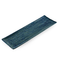 "[NEW] Ai Blue Rectangular Plate with Lines 13.2"" x 4.2"""