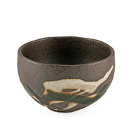 "[NEW] Grainy Bronze Rice Bowl with Oribe Green Design 4.9"" dia"