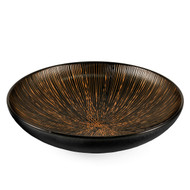"[NEW] Black Serving Bowl with Metallic Brown Lines 11.2"" dia"
