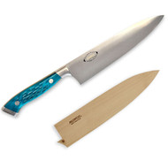 "Nenox Gyuto Knife 240mm (9.4"") Pacific Blue Jigged Bone Handle with Saya Cover"
