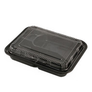 "TZ-305-02K Black Take Out Bento Box 9.3"" x 7.5"" (42/pack)"
