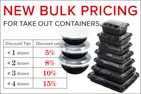 New Bulk Pricing for Take out containers