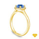 14K Yellow Gold French Pave Set Square Halo Diamond Engagement Ring Blue Sapphire Top View