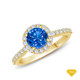 14K White Gold An Intricate Antique Vintage Syle Diamond Engagement Ring Blue Sapphire Finger View