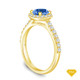 14K Yellow Gold An Intricate Antique Vintage Syle Diamond Engagement Ring Blue Sapphire Top View