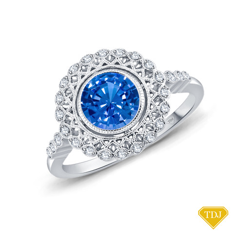 14K White Gold An Intricate Antique Vintage Syle Diamond Engagement Ring Blue Sapphire Top View