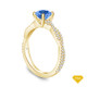 14K Yellow Gold Leaves Inspired Accent Diamond Engagement Ring Blue Sapphire Top View