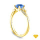 14K Yellow Gold Cathedral Pave Diamond Engagement Ring Blue Sapphire Top View