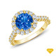 14K White Gold An Antique Scroll Design Three Stone Engagement Ring Blue Sapphire Finger View