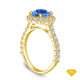 14K Yellow Gold An Antique Scroll Design Three Stone Engagement Ring Blue Sapphire Top View