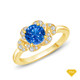 14K White Gold Solitaire Ring Claw Prong Flower Petal Basket Design Blue Sapphire Finger View
