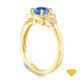 14K Yellow Gold Solitaire Ring Claw Prong Flower Petal Basket Design Blue Sapphire Top View