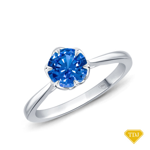14K White Gold Solitaire Ring Claw Prong Flower Petal Basket Design Blue Sapphire Top View