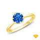 14K White Gold Tapered Style Baguette Side Stones Engagement Ring Blue Sapphire Finger View
