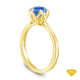 14K Yellow Gold Tapered Style Baguette Side Stones Engagement Ring Blue Sapphire Top View