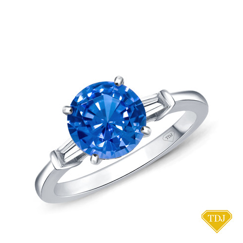 14K White Gold Tapered Style Baguette Side Stones Engagement Ring Blue Sapphire Top View