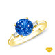 14K White Gold Vibrant Sapphires and Halo Diamond Accents Setting Blue Sapphire Finger View