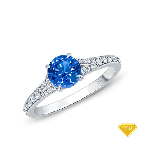 14K White Gold Diamond Accents Set in a Split Shank Setting Blue Sapphire Top View