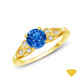 14K White Gold Split Shank with Halo Diamond Accents Setting Blue Sapphire Finger View