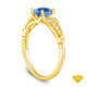 14K Yellow Gold Split Shank with Halo Diamond Accents Setting Blue Sapphire Top View