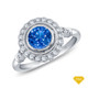 14K White Gold Halo Accents With Intricate Milgrain Design Setting Blue Sapphire Top View
