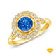 14K White Gold Kite Shape French Pave Set Halo Accents Setting Blue Sapphire Finger View