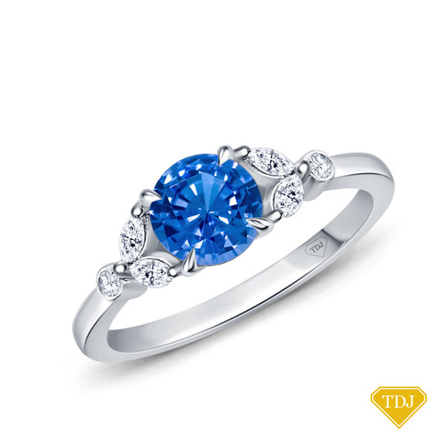 14K White Gold Nature Inspired Leave Design Marquise and Round Side Stones Engagement Ring Blue Sapphire Top View