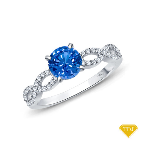 14K White Gold A Twisted Spirals With Accents Setting Blue Sapphire Top View