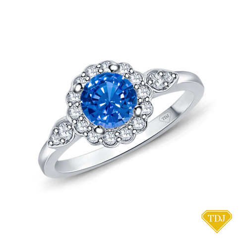 14K White Gold Petal Designed Shank with Intricate Halo Accents Engagement Ring Blue Sapphire Top View