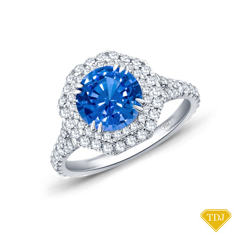 14K White Gold Split Shank Octagenol Double Halo Accents Setting Blue Sapphire Top View