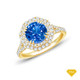 14K White Gold Tapered Double Prong Scroll Design Setting Blue Sapphire Finger View