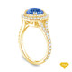 14K Yellow Gold Tapered Double Prong Scroll Design Setting Blue Sapphire Top View