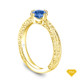 14K Yellow Gold Scroll Filigree Accent Diamond Engagement Ring Blue Sapphire Top View