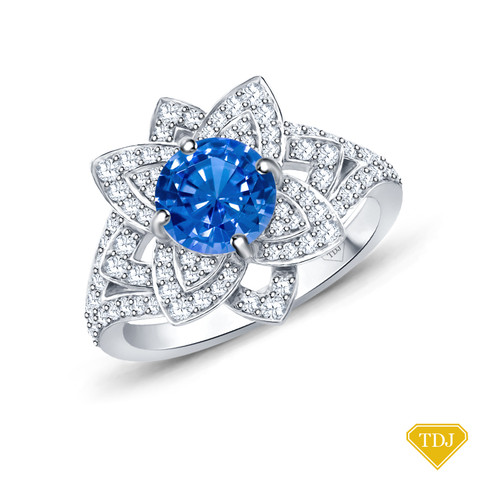 14K White Gold Vintage Inspired Petals Floral Setting Blue Sapphire Top View