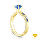 14K Yellow Gold Sapphire Side Stones Three Stone Engagement Ring Blue Sapphire Top View