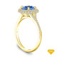 14K Yellow Gold Antique Scroll Design Diamond Engagement Ring Blue Sapphire Top View