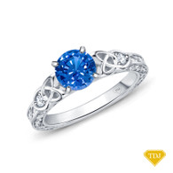 14K White Gold Antique Scroll Design Diamond Engagement Ring Blue Sapphire Top View